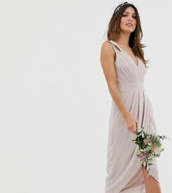 bridesmaid exclusive wrap midi dress in taupe-Brown