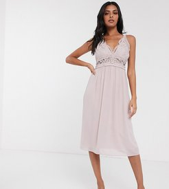 Bridesmaid halter neck midi dress with lace inserts in taupe-Brown