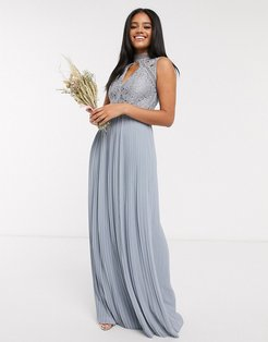 bridesmaid lace detail maxi dress in dusty blue