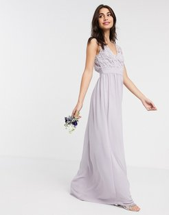 Bridesmaid lace plunge maxi dress with scalloped back in gray-Grey
