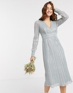 bridesmaid long sleeve pleated midi dress in blue metallic-Red