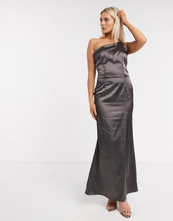 Bridesmaid one shoulder satin maxi dress in bronze-Brown