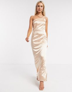 Bridesmaid one shoulder satin maxi dress in champagne-Gold