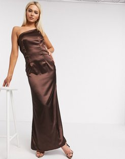 Bridesmaid one shoulder satin maxi dress in chocolate-Brown
