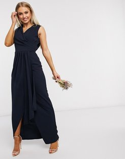 Bridesmaid pleated wrap front maxi-Navy