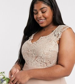 Bridesmaid Plus scalloped lace top dress-Brown