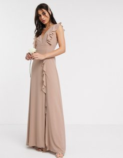 Bridesmaid ruffle detail maxi dress in mink-Brown