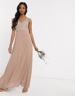 Bridesmaid scalloped lace top dress in mink-Brown