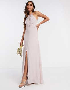bridesmaid wrap lace maxi dress in pink