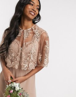 lace detail cape in mink-Pink