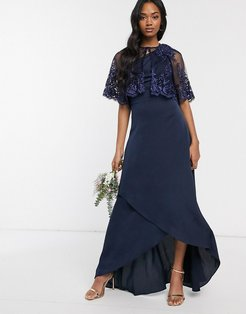 lace detail cape in navy-Pink