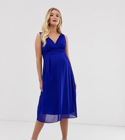 midi dress with tie back in cobalt-Blue