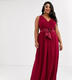 Bridesmaid maxi dress with bow back in mulberry-Red