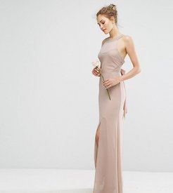 WEDDING Chiffon Maxi Dress with Tonal Embellishment and Tie Detail-Brown