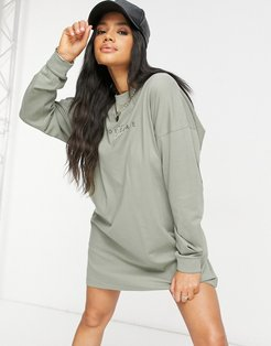 archive logo oversized long sleeve T-shirt dress-Green