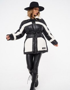 contrast shearling padded jacket with belt in black-Multi