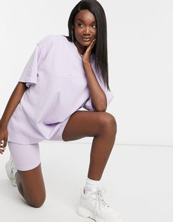 contrast signature stripe oversized t shirt in lilac-Gray