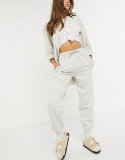 oversized logo high waisted sweatpants-Grey