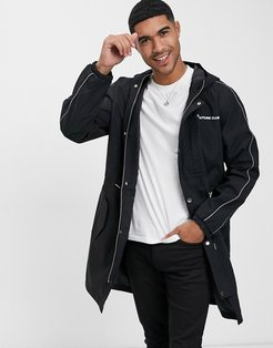 piped lightweight trench logo jacket-Black
