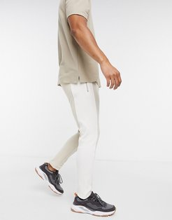 rib panelled tapered sweatpants in beige
