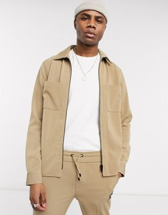 smart ribbed harrington jacket in dark stone-Beige