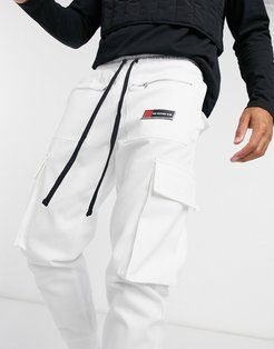 utility cargo pants in white
