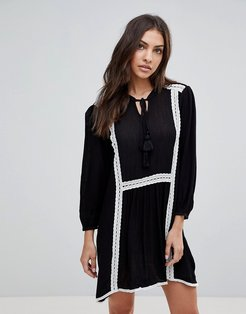 Long Sleeve Smock Dress With Lace Trim And Slip Dress-Black