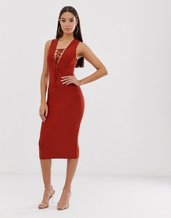 bandage dress with tie detail in rust-Brown