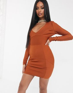 bandage long sleeve ribbed bodycon dress in tan-Brown