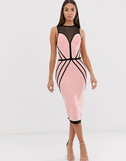 contrast bandage midi dress in pink and black-Multi