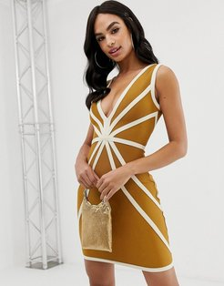 plunge front bandage dress with contrast piping in caramel-Brown