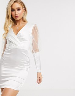 satin mini dress with tulle puff sleeves in white