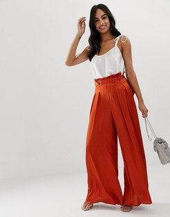 wide leg pants with D ring belt in copper