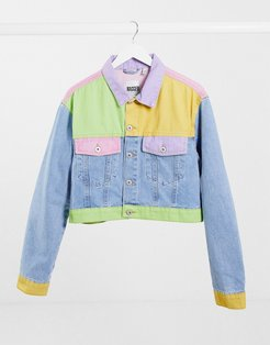 crop jacket in pastel patchwork denim co-ord-Multi