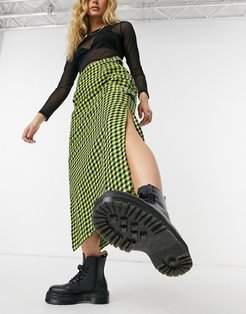 green check maxi skirt with strap detail