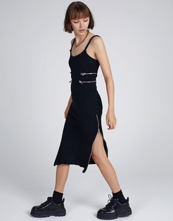 midi cami dress with zip cut outs in rib-Black