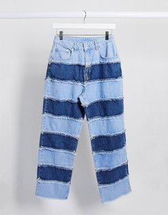 mom jeans in patchwork stripe-Blues