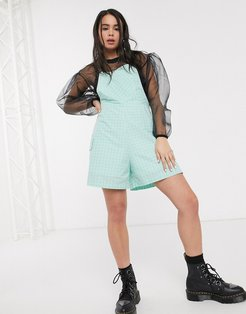 romper in mint check-Blues
