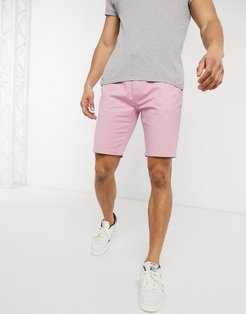 belted chino shorts-Pink