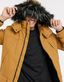 parka with faux fur hood in tan