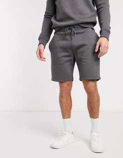 two-piece basic jersey short-Gray