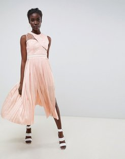 Asymmetric Shoulder Pleated Midi Dress-Pink