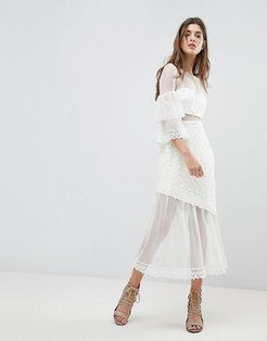 Midi Dress With Fluted Overlay Sleeve-White