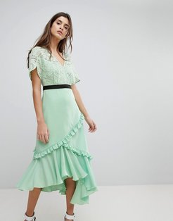 Midi Dress With Lace Bodice-Green