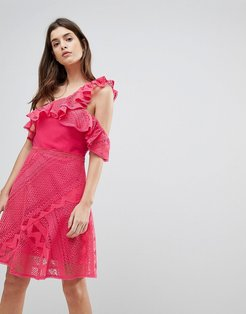 One Shoulder Frill Lace Dress-Pink