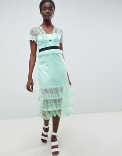 Tiered Midi Dress With Contrast Waistband-Green