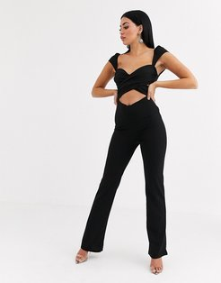 crossover cutout jumpsuit in black