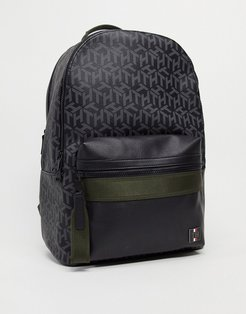 backpack in monogram print with small logo-Black