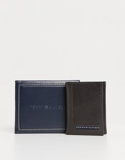 leather trifold wallet in brown with small logo