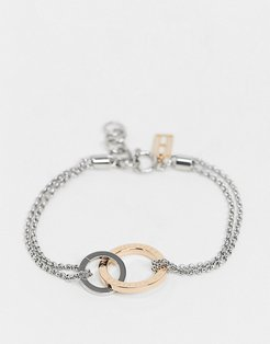 link bracelet in silver and rose gold-Multi